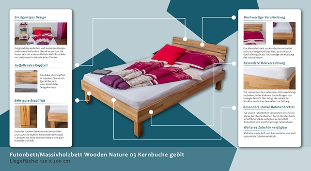 Platform Bed Solid Wood Bed Wooden Nature 03 Oak Wood Oiled 120 X 200 Cm