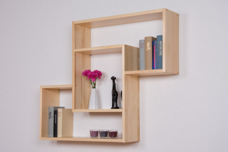 Wall shelf solid, natural pine wood Junco 287 - Dimensions 85 x 104 x 20 cm