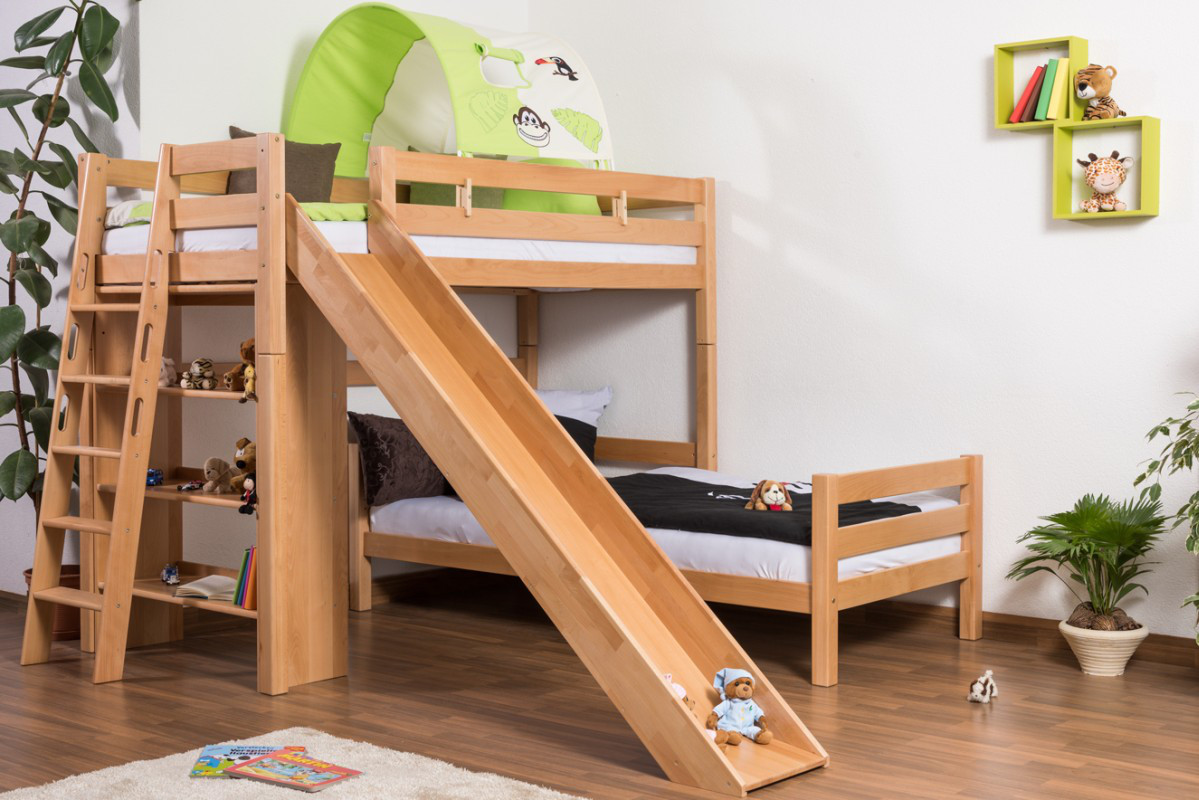 Bunk Bed Children S Bed Pauli With Shelf And Slide Solid Beech Wood Clearly Varnished Convertible Incl Slatted Frame 90 X 200 Cm