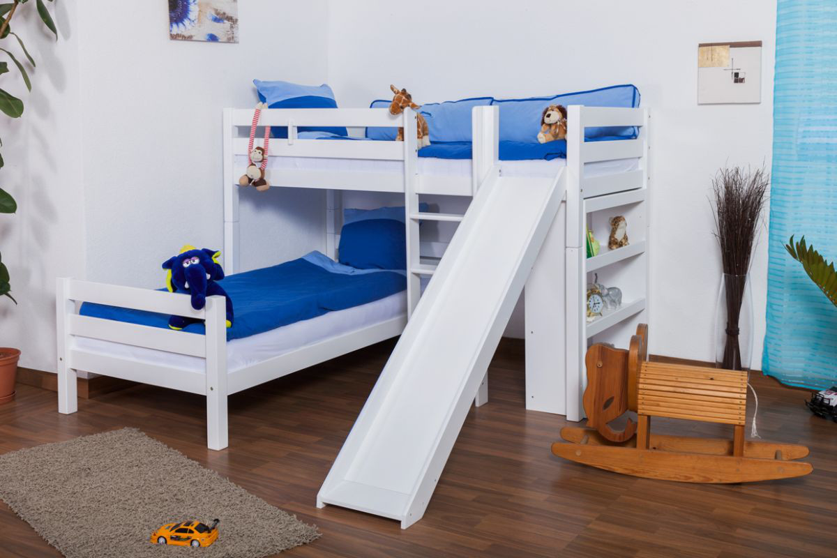 L Shaped Bunk Bed Moritz Solid Beech Wood With Shelf And Slide
