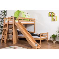 Bunk bed / Children's bed Pauli with shelf and slide, solid beech wood, clearly varnished, convertible, incl. slatted frame - 90 x 200 cm