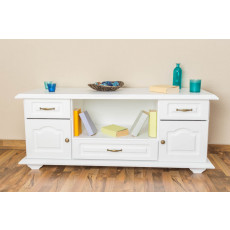 3 Drawer, 2 Door Sideboard Pipilo 17, solid pine wood, white varnished - H58 x W139 x D54 cm
