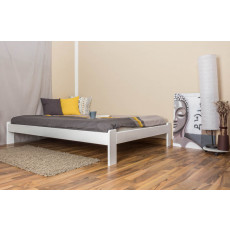 Solid low foot end bed A10, solid pine wood, white finish, incl. slatted frame - 140 x 200 cm