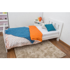 Single bed A22, solid pine wood, white finish, incl. slats - 90 x 200 cm