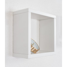 Hanging rack/wall shelf pine solid wood white lacquered Junco 283B - 25 x 25 x 12 cm (h x W x d)