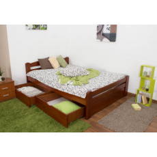 """Youth bed """"Easy Premium Line"""" K4 incl. 2 underbed drawers and 1 cover plate, solid beech wood, clearly varnished - 140 x 200 cm"""