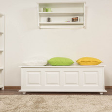 Bench with storage pine solid wood white lacquered 179 – 50 x 154 x 46 cm (H x W x D)