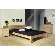 Children's bed / Youth bed A2, solid pine wood, clearly varnished, incl. slatted frame - 140 x 200 cm