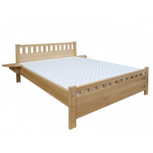 Double bed / day bed solid, natural beech wood 108, including slatted frame - Dimensions: 160 x 200 cm