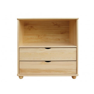 Low 83cm Drawer Standard Bookcase Junco 49A, solid pine, clearly varnished - H83 x W100 x D42 cm
