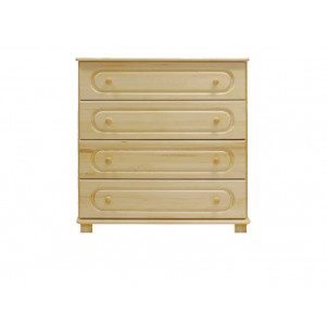 Chest of drawers 014, solid pine wood, clearly varnished, 4 drawer - H100 x W100 x D47 cm