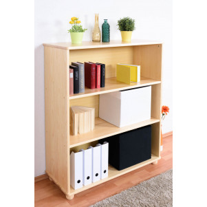 120cm Standard Bookcase Junco 52A, solid pine, clearly varnished - H120 x W100 x D42 cm