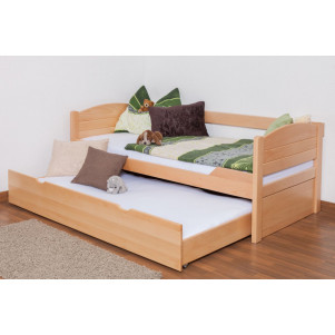 "Single bed / Storage bed ""Easy Premium Line"" K1/s Full, incl. trundle bed frame, solid beech wood, clearly varnished - 90 x 200 cm"