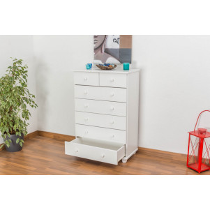 7 Drawer Chest Junco 134, solid pine wood, white varnished – H118 x W80 x D42 cm