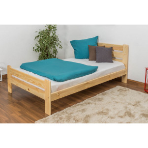 Children's bed / Youth bed solid, natural pine wood A23, includes slatted frame - Dimensions 120 x 200 cm