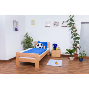 "Children's bed / Youth bed ""Easy Premium Line"" K2, solid beech wood, clearly varnished - 90 x 200 cm"