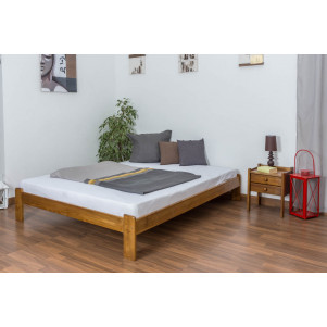 Double bed/guest bed pine solid wood oak colored A10, including slatted grate - Dimensions 160 x 200 cm