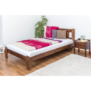 Single bed / Day bed solid pine wood nut colored A21, including slatted frame - Measurements 120 x 200 cm