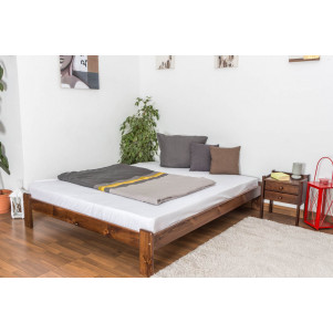 Double bed/guest bed pine solid wood nut colored A10, including slats - Dimensions 160 x 200 cm