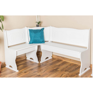 Corner Bench Dining Seat Junco 243, solid pine wood, white finish - W110 x L152 x H85 cm