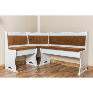 Corner seat solid pine wood painted white Junco 244- Dimensions 85 x 147 x 107 cm