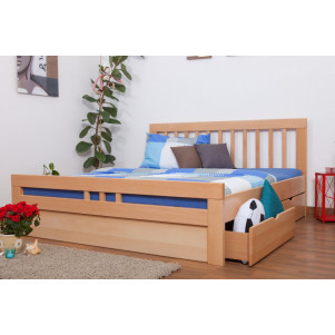 """Youth bed K8 """"Easy Premium Line"""" incl. 4 drawers and 2 cover plates, solid beech wood, clearly varnished - 180 x 200 cm"""