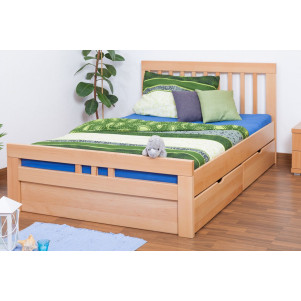 "Single bed / Storage bed K8 ""Easy Premium Line"" incl. 2 drawer and cover plate, solid beech, clear finish - 140 x 200 cm"