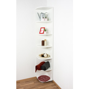 Corner Shelf 30, Color: White - Dimensions: 198 x 37 x 37 cm (H x W x D)