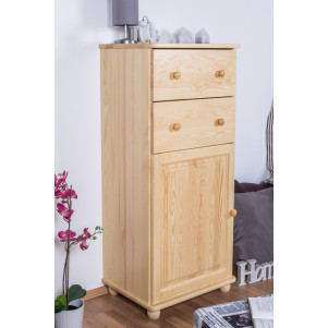 2 Drawer, 1 Door Sideboard Junco 161, solid pine wood, clearly varnished - H123 x W60 x D42 cm