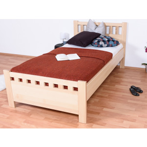 Single bed / Day bed solid, natural beech wood 109, including slats - Measurements 100 x 200 cm