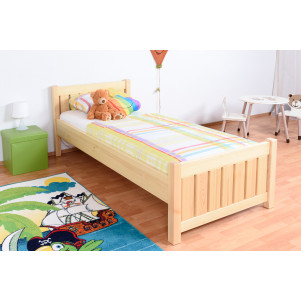 Children's bed / Youth bed 66, solid pine wood, clearly varnished, incl. slatted bed frame - 90 x 200 cm