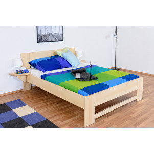 Children's bed / Teen bed solid, natural beech wood 110,t  including slats - Measurements 140 x 200 cm