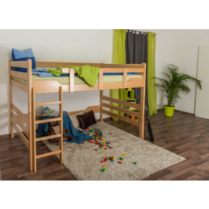 Bunk bed ' Easy Premium Line ® ' K15/n, solid beech wood natural, convertible - lying area: 160 x 190 cm