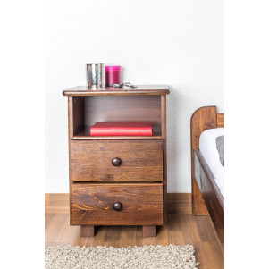Bedside table 005, solid pine wood, 2 drawers, nut-brown coloured - size 60 x 43 x 33 cm (H x W x D)