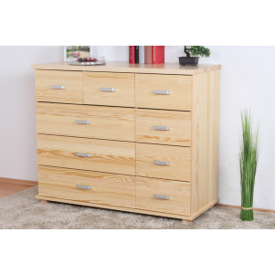 9 Drawer Chest Columba 05, solid pine wood, clearly varnished - H101 x W121 x D50 cm
