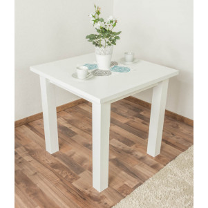 Table solid pine wood white lacquered Junco 239A - Dimension: 80 x 80 cm