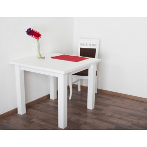 Table Pine solid wood white lacquered Junco 239B (angular) - Dimension 90 x 90 cm