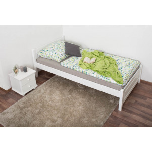 Single bed/guest bed pine solid wood white lacquered 78, incl. Slat Grate - 100 x 200 cm
