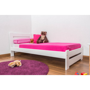 Children's bed / Youth bed A24, solid pine wood, white finish, incl. slatted frame - 90 x 200 cm