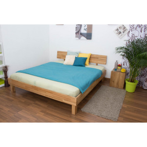 Platform bed / Solid wood bed Wooden Nature 01, oak wood, oiled - 180 x 200 cm