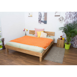 Platform bed / Solid wood bed Wooden Nature 03, oak wood, oiled - 180 x 200 cm