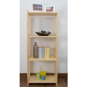 4-Tier Shelving Unit Junco 56D, solid pine, clearly varnished - H125 x W50 x D30 cm