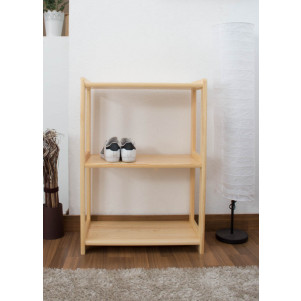 Low 3-Tier Shelving Unit Junco 57C, solid pine, clearly varnished - H86 x W60 x D30 cm