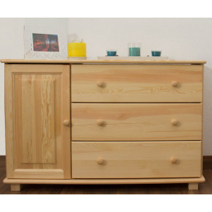 Sideboard 037, 3 drawer, 1 door, solid pine wood, clearly varnished - 78H x 118W x 47D cm