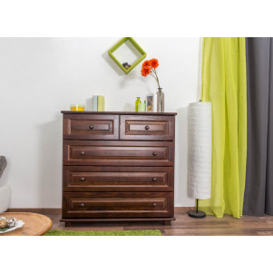 Chest of drawer pine solid wood nut coloured 013 - Dimensions 100 x 100 x 42 cm (H x W x D)