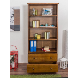 Bookshelf pine solid wood oak paints B001 - Dimensions 190 x 80 x 42 cm (H x B x T)