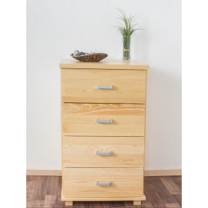 4 Drawer Chest Columba 19, solid pine wood, clearly varnished - H101 x W60 x D50 cm