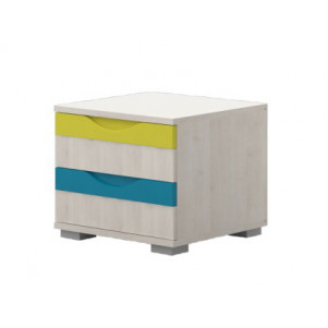 Bedside Table for children's room Peter 05, Colour: pine white/yellow/Turquoise - Dimensions: 39 x 44 x 46 cm (H x W x D)