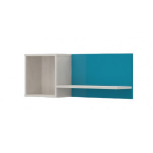 Wall shelf for children's room Peter 06, Colour: White Pine / Turquoise - Dimensions: 35 x 95 x 20 cm (H x W x D)