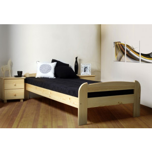 Single bed / Guest bed A11, solid pine wood, clearly varnished, incl. slatted frame - 90 x 200 cm